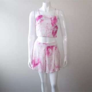 Tie Dye Crop Top Shorts Set XS M L