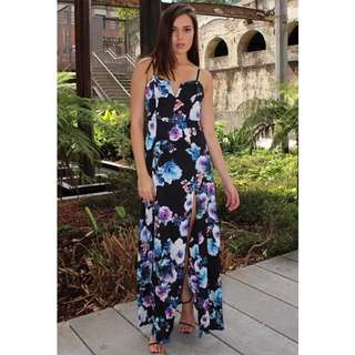 Floral Maxi Split Dress Party Cocktail XS S 6 8