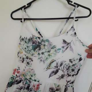White Floral Dress With Crossback