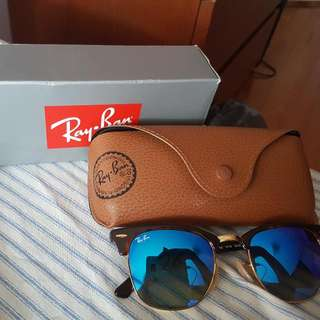 Ray Bans Clubmaster With Blue Gradient Lense.
