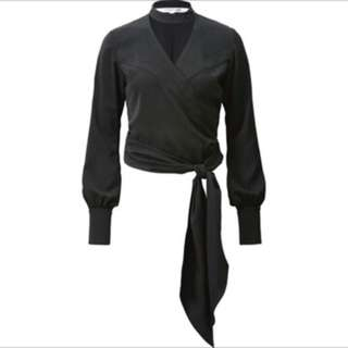 Uniqlo • NWT Black Wrap Choker Blouse