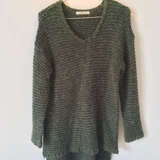 Winter Sweater In Dark Green