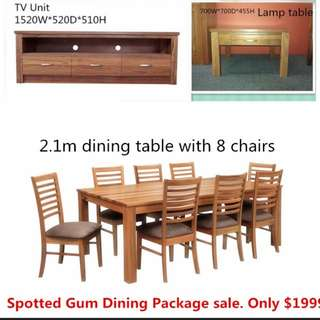 New Spotted Gum Dining Suite Package Sale