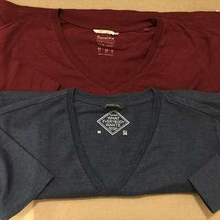 Red And Blue Bershka Basic Shirts