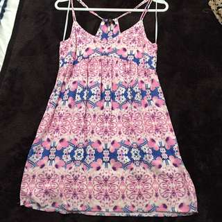 Pink And Blue Floral Print Summer Dress