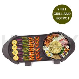 2 IN 1 ELECTRIC NON-STICK BBQ TEPPANYAKI GRILL PLATE STEAMBOAT HOTPOT 2-8 PERSON heyheyonline