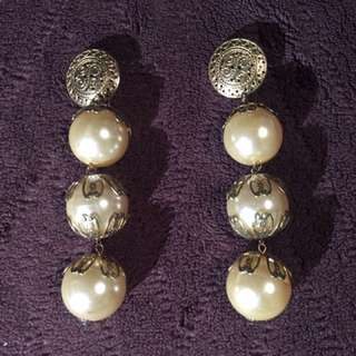 Vintage Long Pearl Earrings