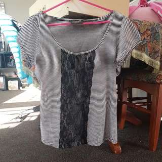 Black And White Stripped Top Size L