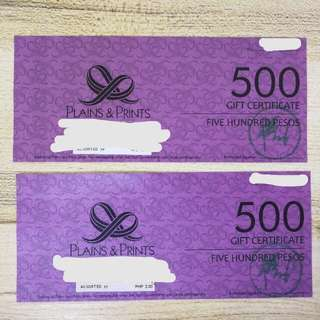 P1000 Plains & Prints Gift Certificate