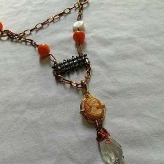 Copper Chain Necklace With Cameo And Crystal Clear Pendant
