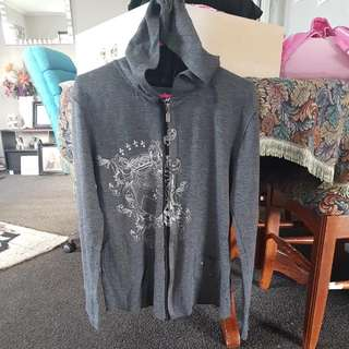 Grey Light Hoodie With Zip And Hood
