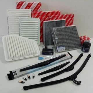 Toyota engine Air filter, aircon cabin filter, Front & rear wiper, armrest console box, visor.
