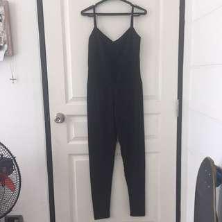 Black Sleeveless Overalls