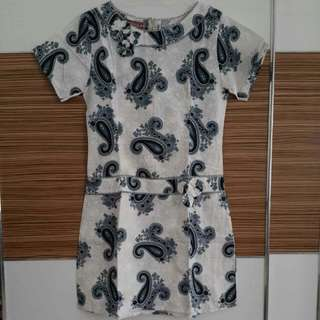 Batik Dress Putih Motif Biru Teal