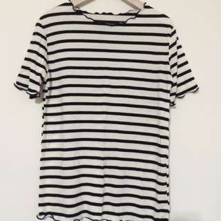 ✨韓國帶回✨全新 黑白條紋 領口波浪設計 休閒上衣