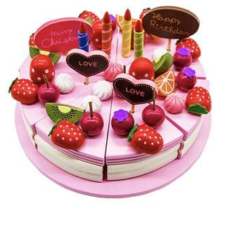 Brand New Wooden Strawberry Cake Decoration Play Set