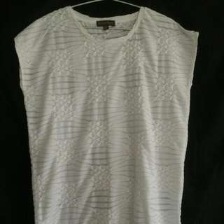 White Plains & Prints Dress With Assymetrical Hem