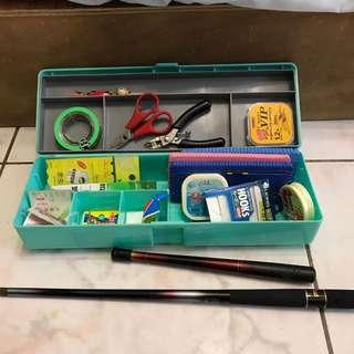 釣蝦工具組釣竿兩隻160公分