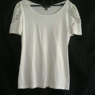 Cream Plains & Prints Tshirt with Lace On Sleeves