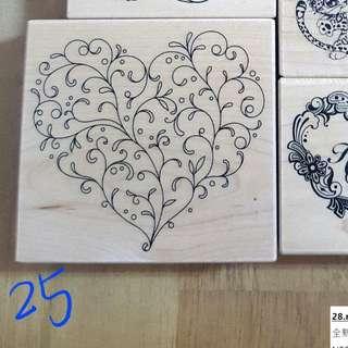 🚚 25.micia楓木印章-藤蔓愛心stamp#L035