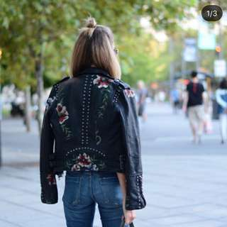 BLANKNY Embroidered Studded Faux Leather Jacket
