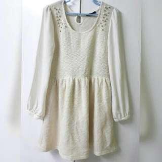 Cream Korean Dress