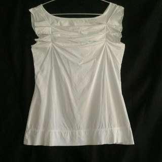 White Plains & Prints Sleeveless Blouse with Origami Pleats