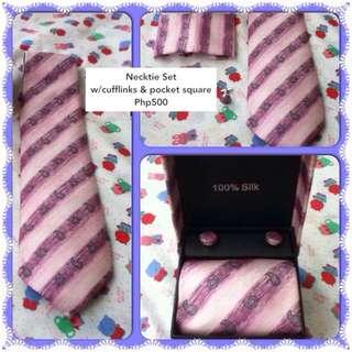 Necktie Set with Cufflinks & Pocket Square