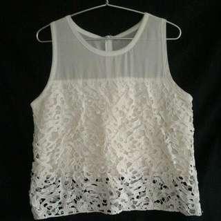Cropped Off-white Sleeveless Lace Blouse from Zalora