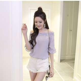 🚚 全新現貨M號🎀韓版一字領雪紡衫荷葉邊雪紡衫上衣
