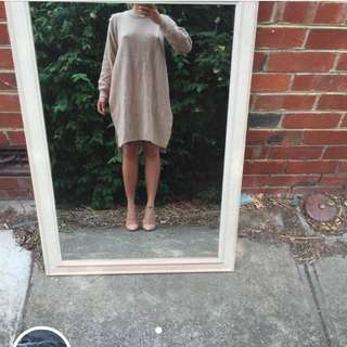 Nude Tunic Side Split Dress
