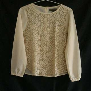 Cream Long Sleeve Lace Blouse from Plains & Prints