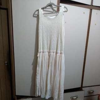 米色無袖長洋裝