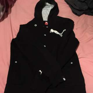 Authentic Puma Black Button Up Hoodie Size S