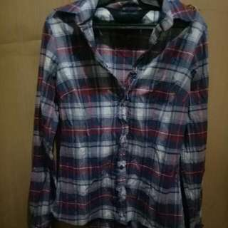 Blue Checkered Long Sleeves Branded