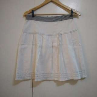Pleated White Skirt