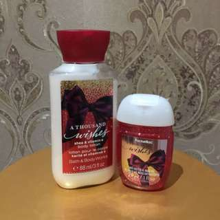 Bath And Body Works - A Thousand Wishes Body Lotion & Pocket Bac - Anti Bacterial Hand Gel