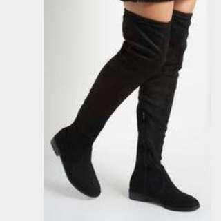 Thigh High Velvet-Feel Flat Boots