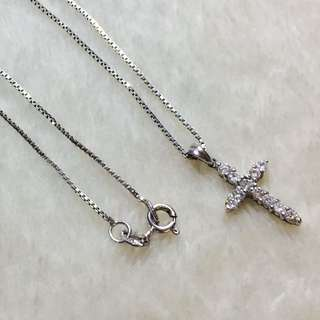 14k White Gold Necklace With Cross Diamond Studded Pendant