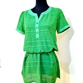 Green Blouse With Garter Waist