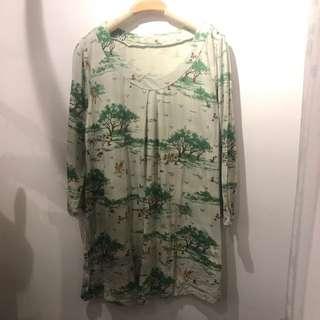 綠色樹木森林童話圖案綿質圓領長綿質連身裙 $58包郵