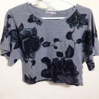 Gray Floral Cropped Shirt With Loose Sleeves