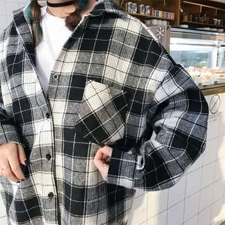 2 colours check shirt top jacket