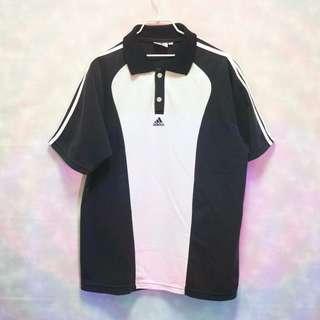 三件7折🎊 Adidas polo衫 短袖 黑白拚色 極稀有 棉質 老品 電繡logo 復古 古著 Vintage