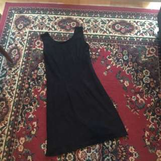 Black Knee-length Eyelet Dress