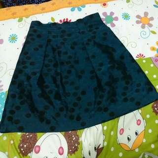 🚚 深藍色黑點及膝裙