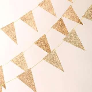 Gold Glitter Banderitas