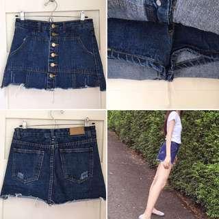 排釦牛仔褲裙