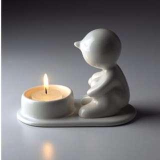 🚚 🕯泰國生活創意品牌Mr.P One Man Lonely白色陶瓷燭台.療癒置物盤