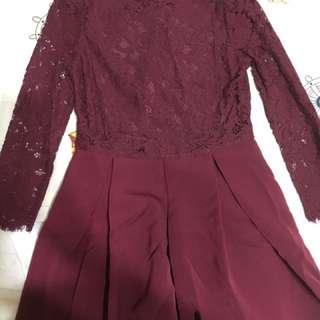 🚚 酒紅蕾絲洋裝